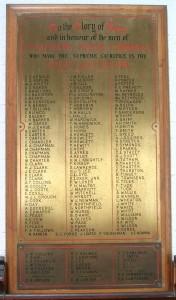 The War Memorial at St Matthews Church, Cambridge