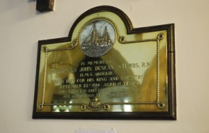 Commemorative plaque for Midshipman Duncan Stubbs